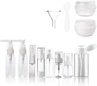 Clear Plastic Empty Containers for toiletries - TSA Approved Airline travel Accessories Bottles and jars BPA-free Small Cosmetic Containers for Makeup with toiletry Zipper Bag Set 13 Pcs Kingcorey