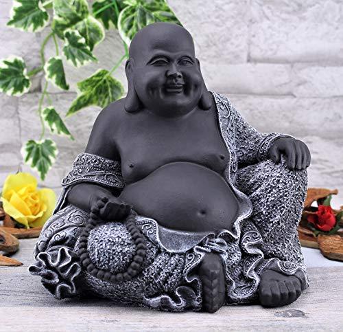 Steinfiguren Spicker Steinfigur Buddha, 197/1 Glücksbuddha Gartenfigur Steinguss Statue Basaltgrau Schwarz