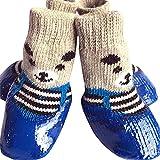 RUMUI Juego de 4 Piezas de Zapatos para Mascotas, de Goma de algodón, Impermeable, Antideslizante, térmico, para Lluvia, Botas de Nieve, Calcetines, Calzado para Perros Cachorros