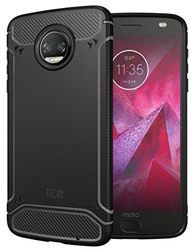 TUDIA [TAMM] Kohlefaser TPU Schutzhülle Ultra Slim Hülle für Motorola Moto Z Force (2nd Generation), Moto Z2 Force Droid Edition (Schwarz)