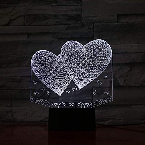 Doubles Love Hearts 16 colores Lámpara de mesa Led Night Light para niños Regalo Decoración para el hogar Iluminación Ambiente romántico (ZYJHD)