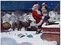 たくさんの本を届ける新しいサンタパズル500ピース木製大人のジグソーパズルカラー抽象絵画パズル子供向け教育玩具ギフト
