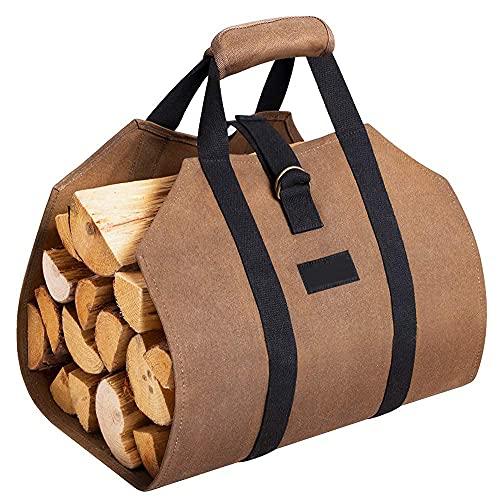 Amagabeli Lona bolsa de registro de chimenea Hogar 99x45,7cm Bolsa de almacenamiento deleña titular de registro Gran capacidad con asas Portador de madera contra incendios Bolsa de transporte