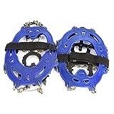 RiToEasysports 1 par de Tacos de tracción universales de 14 Picos, agarres de Hielo y Nieve, crampones para Senderismo, Pesca, Jogging, montañismo, Senderismo(Azul)