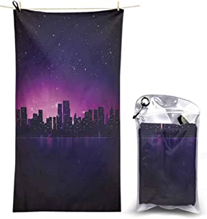 Ahuimin Microfiber Beach Towel, Night,City Skyline Urban Life, 55 x 27.5 Inches Super Absorbent Quick Fast Drying Soft Eco-Friendly Towels for Body Bathroom Travel