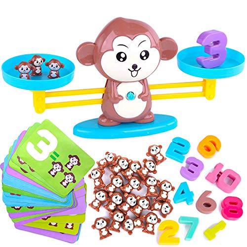 HOWADE Monkey Balance Matemáticas Juego Mono, Báscula de Pesaje Montessori, Juguetes educativos para 3 4 5 años de edad