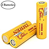 M&A BD 2 Pack of 3000mAh, IMREN-Gold, 20A, Replacement for Flat Top-18650-Rechargeable-Battery, for LED Flashlight with Free Storage Case