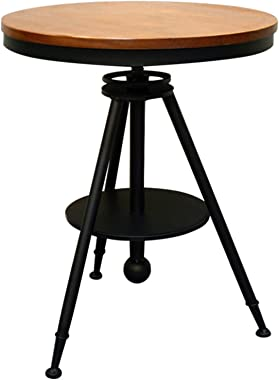 Round Side Table,Simple Lifting Coffee Table Small Iron Tables Accent Coffee Table for Living Room Bedroom Office Small Space