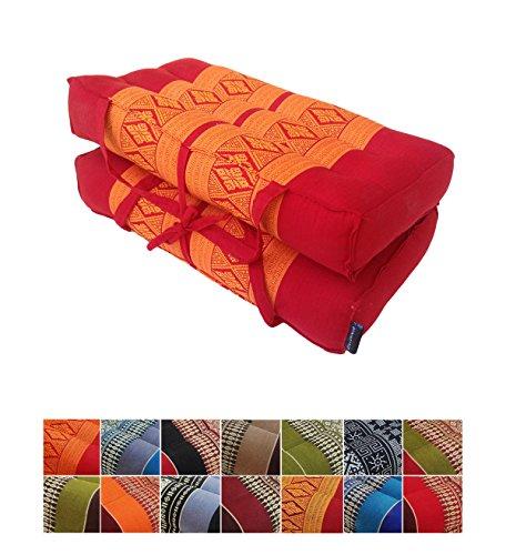 Collumino® - Cojín de meditación de yoga plegable con asa de transporte (naranja, rojo)