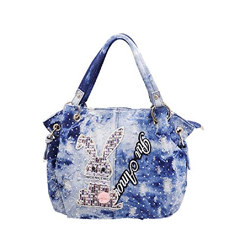 Xi-Link La bolsa pequeña bolsa de tela Agua de lavado vaquero Bolso tendencia de la moda femenina bolsa de 30 * 15 * 25 (cm).