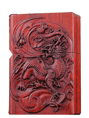 Natural Huanghuali Rosewood Carving Lighter Shell Box For Zippo Module Wing Kylin