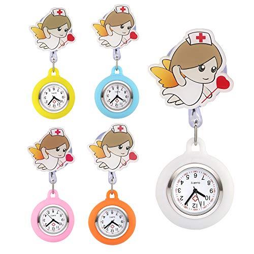 JSDDE Uhren 5er Set Krankenschwesteruhr Set FOB Uhr Frech Emoticon Emoji Stern Schwesternuhr Pflegeruhr Silikon Hülle Taschenuhr Pulsuhr Broschenuhr Uhren (Engel)