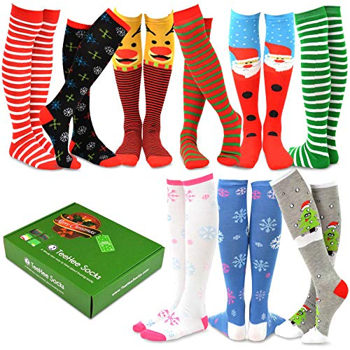 TeeHee Special (Holiday) Women Knee High 9-Pairs Socks with Gift Box (Christmas)