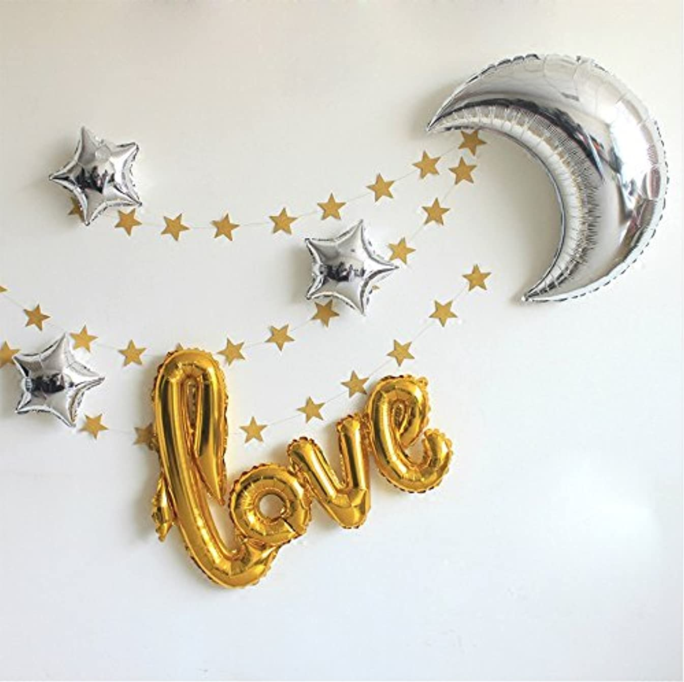 """42 Inch """"Love"""" and 36 Inch Moon Large Size Foil Balloons Air-Filled/Helium Balloon for Party Show Performance Wedding Baby Shower Window Dressing Birthday Anniversary Decoration (Gold Set)"""