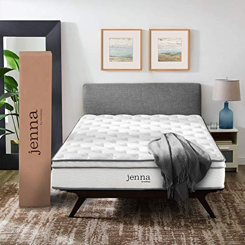 "Modway AMZ-5770-WHI	Jenna 10"" Queen Innerspring Mattress - Top Quality Quilted Pillow Top - Individually Encased Pocket Coils - 10-Year Warranty"