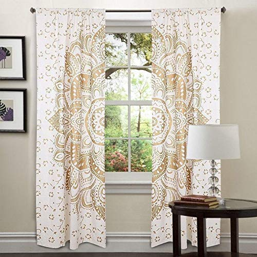 """Real Online Seller Curtain Wall Hanging 2 Panels Set 48""""x78"""" Inches Mandala Window Curtain Pair 82 Length Set of 2 Gold Tapestry Indian Hippie Curtains Bohemian Psychedelic"""