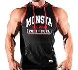 Monsta Clothing Co. Men Workout (Monsta-Est09) Hooded Tank Top (G:BK/RD-A:WT/RD)