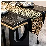 Caflife Black and Gold Table Runner 13 x 72 inches for Coffee Table, Home Living Room Bedroom Art Decor,Black Velvet Table Runner with Tassels, Black and Gold