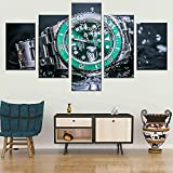 Carteles Impresiones 5 Paneles Rolex Reloj Verde Agua Ghost Submariner Series Wall Art Canvas Impresión HD Póster Sala de estar Decoración del hogar Tamaño_A_No_frame
