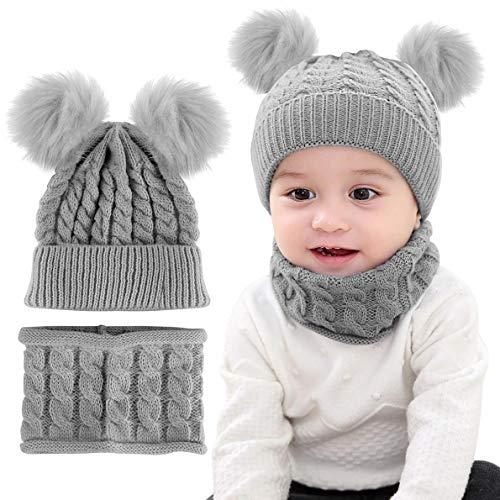 CheChury Conjunto de Bufanda y Gorro de Punto Unisex Niños Niñas Invierno cálido Punto Beanie Gorros con Pompon Bufanda de Punto Cuello Redondo Bebé