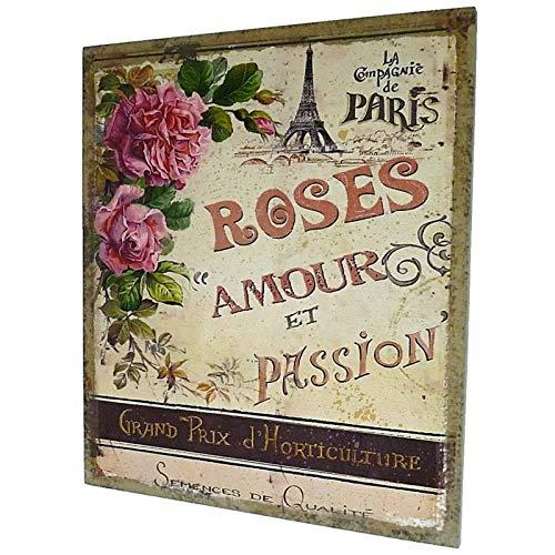 L'Héritier Du Temps Tableau ou Cadre Mural à Poser Motifs Floraux Rose Amour et Passion Imprimés sur Toile 2x25x30cm