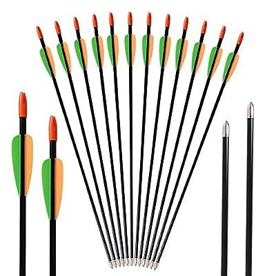 Huntingdoor Archery Youth Arrows 28inch/26inch Target Practice Fiberglass Arrows Shooting Fun Game Arrows 7mm for Beginner 12 Pack
