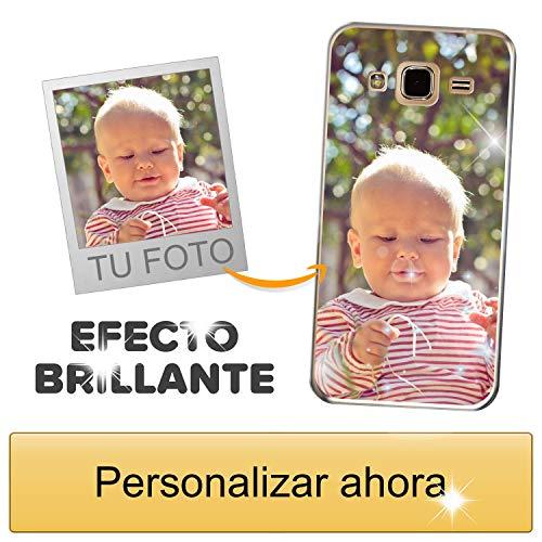 Funda móvil Personalizada con Efecto Brillante para Samsung Galaxy J3 2016 con Tu Foto, Imagen o Frase - Funda Blanda en TPU Gel Transparente - Impresión de máxima Calidad