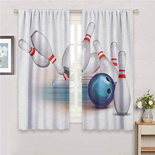 DIMICA Room Darkened Heat Insulation Curtain Bowling Party Thrown Ball and Scattered Pins Speed Hit The Target Shot Score Sliding Soundproof Curtains W54 x L39 Inch White Pale Blue Red