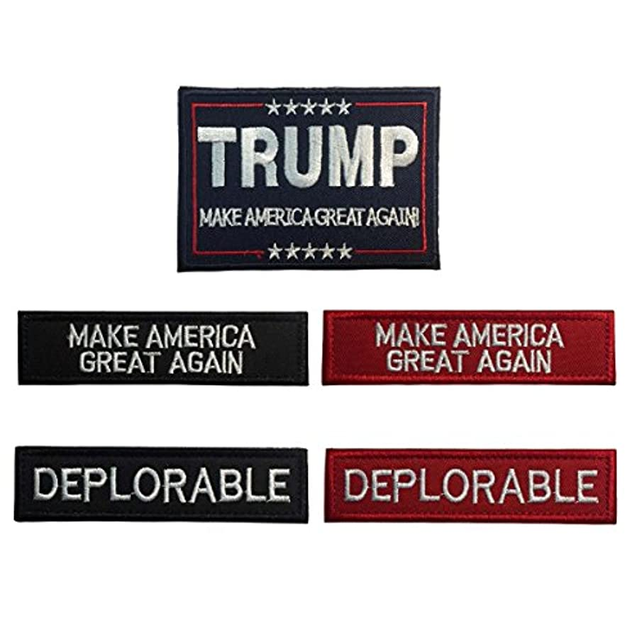 SpaceCar One Set 3D Embroidery Make America Great Again Flag, Make America Great Again, Deplorable Military Tactical Morale Badge Emblem Hook & Loop Patches - Bundle 5 Pieces