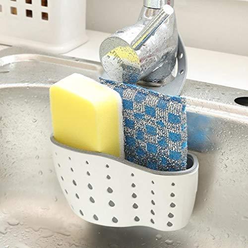 Hunpta Waschbecken Regal Seife Schwamm Ablauf Rack Badezimmer Halter Küche Lagerung Saugnapf (Beige)