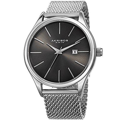 Akribos XXIV Men's Quartz Watch with Stainless-Steel Strap, Silver, 22 (Model: AK959SSGN)