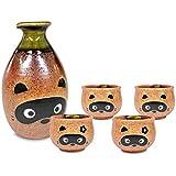 Mino Ware Traditional Japanese Sake Set, Tokkuri Bottle and 4 Ochoko Cups, Boy Bottle, Boy & Girl Cups Tanuki Japanese Racoon Dog Design