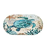 MOLFUJ Non Slip Sea Turtle Bathtub Mat with Suction Cups, Oval Pebble Shower Mat for Baby Tub,Safety Vinyl Anti-Skid Decoration Bath Mat, Coastal Ocean Beach Nautical Themed Decor Bathroom Accessories