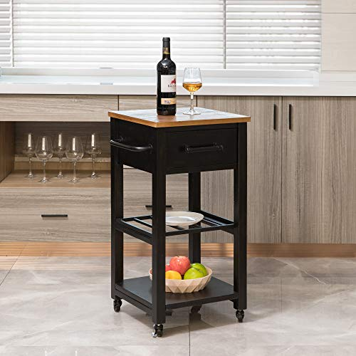 FirsTime & Co. Athena Farmhouse Kitchen Cart, American Crafted, Brown, 16 x 16 x 31.5 ,