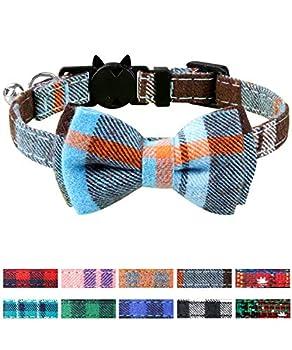 Joytale Collier Chat Réglable avec Clochette et Cravate, Mignon Colliers de Sécurité pour Chaton et Chiot, 1 Pack,Bleu Brume