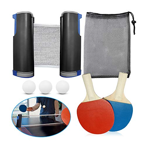 Buy Discount Table Tennis Training Equipment All-in-1 Kit with Adjustable Net and Racket for Exercis...