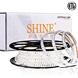 Shine Decor 50FT/15M Dimmable LED Strip Light, 6500K Cool Daylight White IP65 Waterproof Light Strip SMD2835 120LED/M, 6x10mm 110V-120V Indoor Outdoor Rope Lights, Flexible Accent LED Strip Lighting