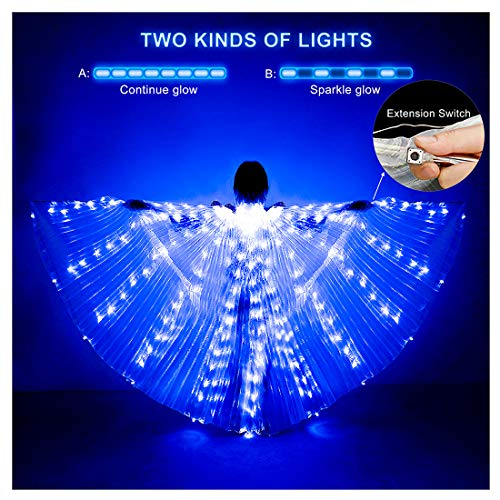 iMucci LED Lights Belly Dance Isis Wings - Bellydance Glow Angel dance Wings with Telescopic Sticks Flexible Rods for Adults and Child Blue
