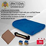Simonis Worsted Blend 860 Fast Speed Pool Cloth -Billiard Table Felt and Horsehair Brush Spots and Chalk - 9 feet - 6 pre-Cut Rail Pieces - No Nap – Tournament Grade (Royal Blue)