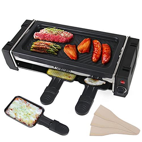 Raclette 2 Personas, Termostato Ajustable Parrilla con 3 Mini Sartenes Extraíble Revestimiento Antiadherente, 700 Vatios