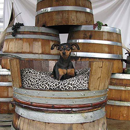 Zhyaj Holz Hundebetten Für Mittlere Hunde Vintage Weinfass Hundehaus Atmungsaktiv Hundezwinger,Wood,M:40 * 45 * 15CM