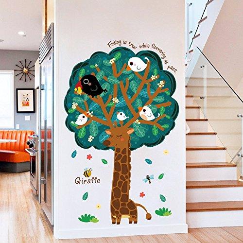 Grote boomgiraf cartoon schattige creatieve decoratie geschilderde trap gang kan zelfklevende muursticker verwijderen