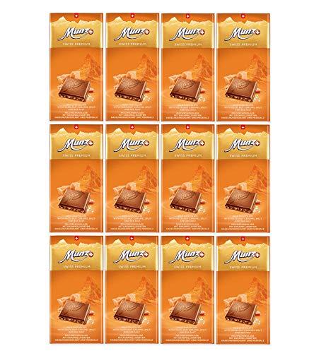 Munz Schokolade Caramel & Salz | Feine Milchschokolade | 12 Tafeln á 100g | Edle Schokolade | Swiss Premium Chocolate Caramel & Salt | Großpackung 1,2 kg Schokoladentafeln aus der Schweiz