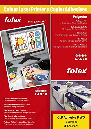 FOLEX Color-Laserfolie, DIN A4, selbstklebend, wei VE = 1