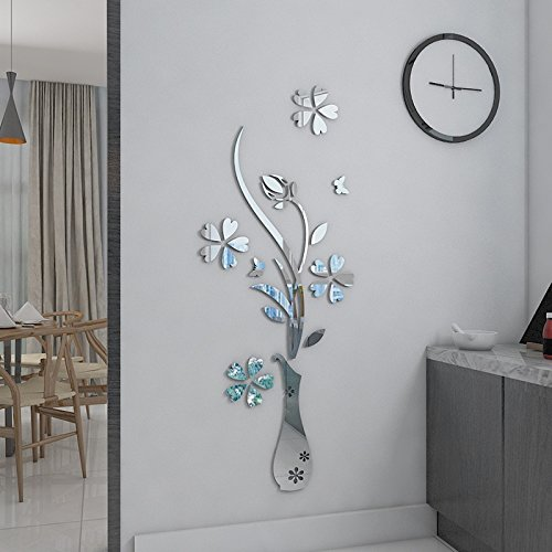 "HEYING Mirror Flower Vase 3D Crystal Acrylic DIY Wall Stickers& Murals For Entranceway , Living Bedroom Dining Room Décor Home Decoration (12.2""*31.50"", Silver)"