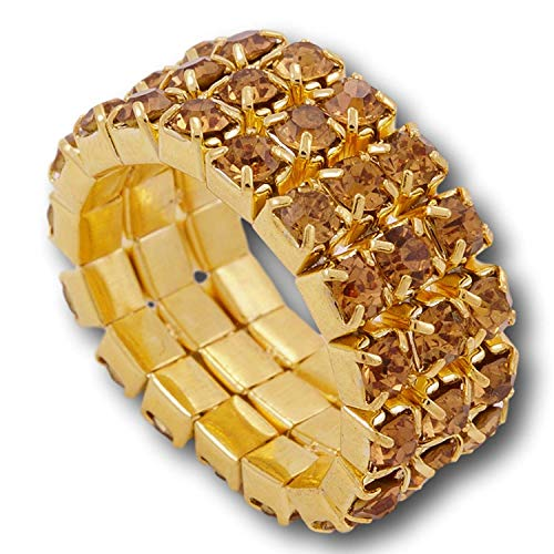 Pashal Three Row Multi Stone Adjustable Stretch Scallop Setting Stretch Elastic Cocktail Ring (Gold - Amber)