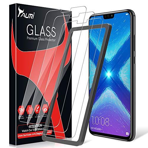 TAURI Protector de Pantalla para Huawei Honor 8X [3 Piezas] [Instalación fácil del Marco de alineación] [2.5D Borde] [9H Dureza] Vidrio Templado