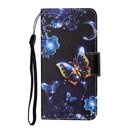Funda para Samsung Galaxy A20S, 3D a prueba de golpes, de piel sintética de alta calidad, con soporte magnético, tarjetero, monedero, funda protectora de TPU para Samsung Galaxy A20S Moon Butterfly