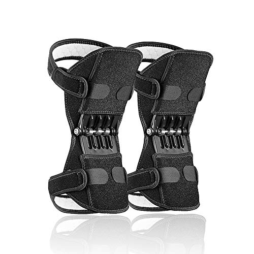 2 Pack Power Knee Brace Joint Support, Power Knee Stabilizer Pads, Protective Gear Booster with Powerful Springs for Men/Women weak Legs, Arthritis, Meniscus Tear Pain, Fitness and Sport, Preventing Excessive Knee Flexion