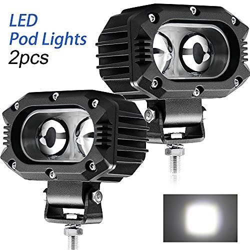 CO LIGHT LED Pods Light 2PCS Spot Fog Lights 4inch 48W Spot Beam LED Work Lights for Motor SUV ATV Truck Boat Tractor Forklift 3 Years W-arranty, 914Z-Spot-2pcs